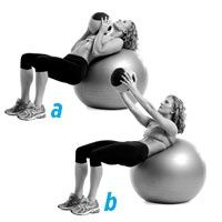 15-minute flat belly workout #1    Grab a five- to 10-pound medicine ball (or dumbbell). Lying faceup on a stability ball with your upper back and head pressed against the ball and your feet together on the floor, hold the medicine ball against your chest (a). Brace your abs and crunch up until your shoulders are off the ball. Then reach the ball toward the ceiling (b). Lower it and return to the starting position. Do 12 to 15 reps. exercise-just-do-it