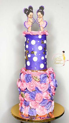 theebougiebaker on Instagram: Showering Twin Princesses: : : : : : : : : : : #babyshowercake #cakereels #cake #cakesofig #reelsvideo #twotiercake #rosettecake… Two Tier Cake, Rosette Cake, Baby Shower Cakes, Custom Cakes, Princesses, Twin, Treats, Children, Instagram
