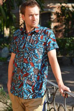Kofi Men's Button Down Collared Shirt // Blue by TribeAfricanWear