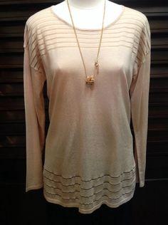 August Silk - Light peach sweater with chiffon stripe detail - $60