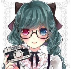 Pretty anime girl with two different eye colors