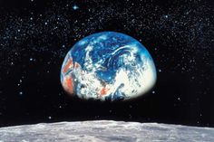 Be transported to outer space with this Earth From The Moon Photo Wall Mural! The mural features an image of Earth from the moon and is a great way to create feature wall in any room Cosmos, Earth From Moon, Large Wall Murals, Earth View, Wallpaper Companies, Moon Photos, Home Wallpaper, Wallpaper Earth, Travel