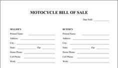 Printable Sample Motorcycle Bill of Sale Form