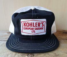 d1cddd0333ecb Vintage 80s KOHLER S EUROPEAN SAUSAGE Mesh Trucker Hat Canada Snapback Cap  Patch  PromoWearLtd  Trucker
