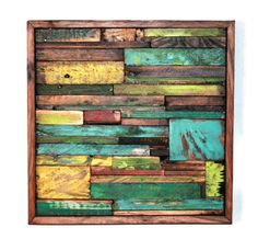 Abstract Painting on Wood Reclaimed Wood Sculpture Wall Art Modern SALE. $199.00, via Etsy.