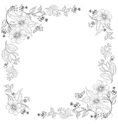 Illustration of Vector, abstract background with a symbolical flowers, monochrome contours vector art, clipart and stock vectors. Hand Embroidery Flowers, Hand Embroidery Patterns, Diy Embroidery, Vintage Embroidery, Border Embroidery Designs, Contour Drawing, Tangle Patterns, Flower Backgrounds, Floral Illustrations