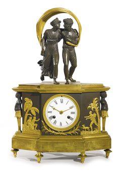 A Directoire ormolu and patinated bronze mantel clock circa 1795