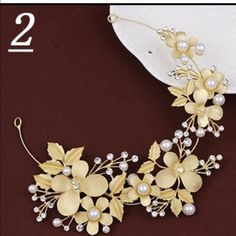 Rhinestone Golden leaves and pearl hair pieces Super chic and pretty to wear on the parties, festivals, and weddings.  Only ten left Accessories Hair Accessories