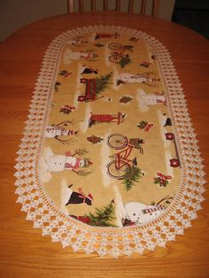 Aunt Roo's Holly Jolly Snowman fabric runner w/ by auntroo on Etsy, $58.00