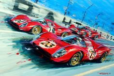 A painting showing the Ferraris that came in 1-2-3 at Daytona in 1967. One of the drivers, Mike Parkes, commissioned a painting showing the three Ferraris crossing the finish line and gave it to Enzo Ferrari where it hung in his office until his death.