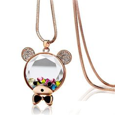 Gold Color Bear Necklace Pendant For Women New Year Gifts Crystal from Swarovski Sweater Necklace Jewelry Christmas Bijoux