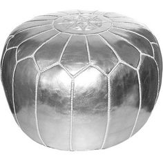 Add a pop of exotic style to your living room or master suite with this eye-catching leather pouf, showcasing Moroccan-inspired stitching and a sleek silver ...