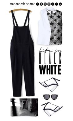 """""""Make It Monochrome"""" by shortyluv718 ❤ liked on Polyvore featuring Oscar de la Renta, Bebe, Yves Saint Laurent, WithChic, HOOK LDN, blackandwhite, overalls, contestentry and monocrhome"""