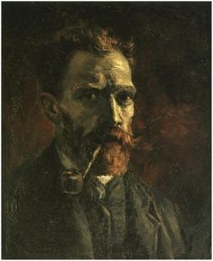 """Vincent van Gogh: """"Self-Portrait with Pipe""""  Painting, Oil on Canvas Paris: Spring, 1886 Van Gogh Museum: Amsterdam, The Netherlands"""