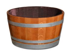 D 70cm - Weinfass halbiert aus Eichenholz, geschliffen, geölt mit silbernen Reifen