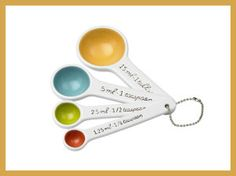 SugarBooger Living Goods Ceramic Measuring Spoon Set, Emma (Discontinued by Manufacturer) Ceramic Spoons, Thing 1, Measuring Spoons, Dinnerware, Home Accessories, Dishwasher, Ceramics, Tableware, Gifts