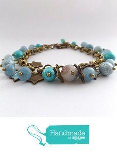 Aquamarine Bracelet - Gemstone and beads, Antique brass blue stars bracelet - shades of aqua - star charm bracelet from No Ditto http://www.amazon.com/dp/B016WO5MJ6/ref=hnd_sw_r_pi_dp_9zXjwb14A5THP #handmadeatamazon