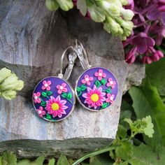purple floral earrings polymer clay christmas gift for mom fashion style boho  by FloralFantasyDreams on Etsy