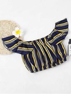 Stripe Off Shoulder Flounce Crop Top - Azul Profundo XL Cute Blouses, Blouses For Women, Summer Stripes, Sexy Blouse, White Off Shoulder, Spring Tops, Dressy Tops, Vintage Tops, Boho