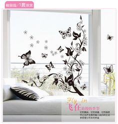 Hot Sale Black Fly Butterfly Wall Sticker Plum Blossom Vinyl Decal DIY Removable Home Deocor Size StickersDecorative WindowsWindow