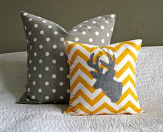 Modern Yellow and Grey Nursery!!!!!!   Antler Chevron Throw Pillow Cover  by nest2impress,
