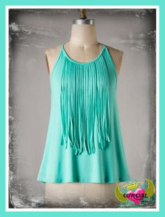 Fringe Top In Mint Small-Large  $24.95 http://www.cowgirlsoul.net/catalog.php?item=1499