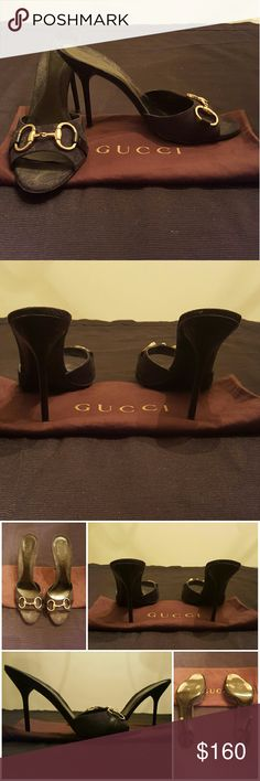 "Gucci Hollywood Black Horsebit Heels These Gucci heels are a stunning addition to any wardrobe. They feature a Gucci signature horsebit at the toe with a serious statement on a slide sandal lifted by a slender stiletto heel. *Heel 3"" Gucci Shoes Heels"
