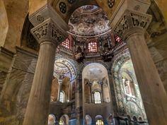 Ostrogothic and Byzantine Church in Ravenna with Mosaics and Columns Byzantine Architecture, Ravenna, Columns, Mosaics, Big Ben, Medieval, To Go, Inspiration, Biblical Inspiration