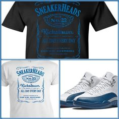 EXCLUSIVE TEE SHIRT to match the NIKE AIR JORDAN 12 XII FRENCH BLUE! ADDICTION #COPEMCUSTOMS #GraphicTee