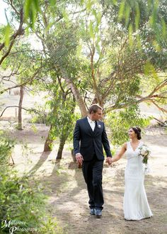 Bride and groom walking together, love