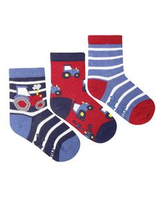 Another great find on #zulily! JoJo Maman Bébé Red, Blue & White Tractor Three-Pair Socks Set by JoJo Maman Bébé #zulilyfinds