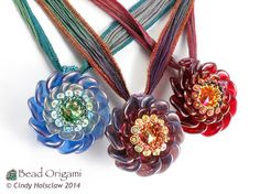 Rose Blossom Pendants - Cindy Holsclaw - Bead Origami