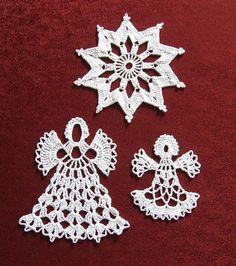 Crochet Snowflake Pattern, Crochet Snowflakes, Crochet Patterns, Crochet Angels, Christmas Tree Pattern, Xmas Ornaments, Thread Crochet, Holidays And Events, Free Crochet