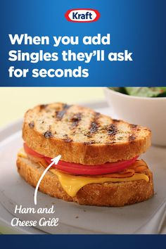 This easy Ham and Cheese Grill recipe is customizable for taste buds of all ages. Cheesy, delicious, and ready in about 15 minutes. Kraft Recipes, Top Recipes, Beef Recipes, Dinner Recipes, Healthy Recipes, Recipies, Mini Sandwiches, Small Potatoes Recipe, Grilled Ham