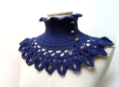 Blue Crochet Neckwarmer / Collar with turtleneck ruffle by ixela, $53.00