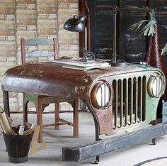 Desk made from Jeep hood and grill