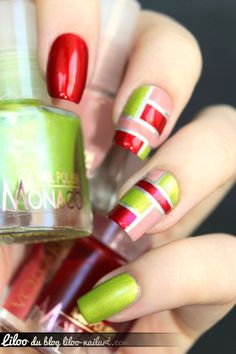Christmas Color Blocking Nails. Red, Green(s), Pink, Silver, and Gold,