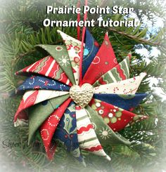 Have you made a Prairie Point Star Ornament from Super Mom - No Cape's tutorial? Click thru to add it to the Prairie Point Star Ornament Link Party! Folded Fabric Ornaments, Quilted Christmas Ornaments, Christmas Quilt Patterns, Christmas Sewing, Noel Christmas, Christmas Projects, Handmade Christmas, Holiday Crafts, Christmas Stockings