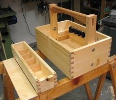 toolbox - All For Garden Wood Tool Box, Wooden Tool Boxes, Wood Boxes, Woodworking Workshop, Woodworking Projects, Tool Tote, Whittling Wood, Home Tools, Tool Sheds