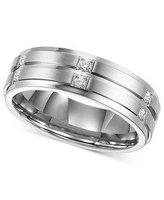 Triton Men's Diamond Ring, Stainless Steel Diamond Wedding Band (1/6 ct. t.w.) - Wedding & Engagement Rings - Jewelry & Watches - Macy's