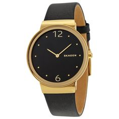 Skagen Freja Black Dial Leather Ladies Watch SKW2370 #Skagen