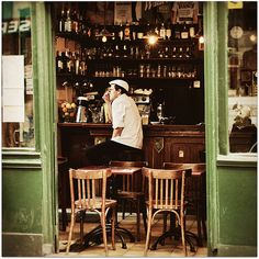 man seated at a cafe bar, quartier saint-gervais, paris, france | foodie travel + street photography