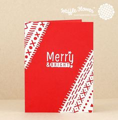 Want to start your holiday cards but don't have Christmas themed papers yet? Use basic colors and adorable Waffle Flower dies and stamps to create stunning handmade cards!