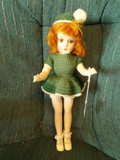 Gorgeous redheaded, brown eyed composition Mary Hoyer doll in green knit outfit
