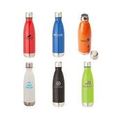 Our 17 oz. Solana stainless steel double wall vacuum bottle has a bright painted finish, screw top with silicone seal and will keep your beverage hot for 12 hours or cold for 24 hours! These are perfect as holiday gifts or customer giveaways!