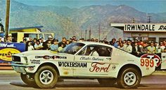 Clester Andrews' 1965 A/FX Mustang... dig the teardrop hood scoop!  The Magnetic Brain: Strip Shot #12