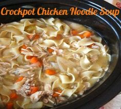 Crockpot chicken noodle soup...Tis the Season and who doesn't love a crockpot recipe for this busy season?!