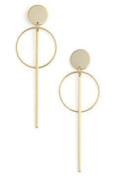 Circle Post Drop Earrings