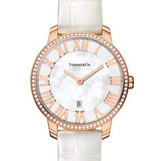 Atlas® dome watch in 18k rose gold with diamonds, quartz movement.