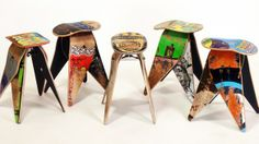 Recycled Skateboard Stools - perfect to go around my dining table.  My brother should make the